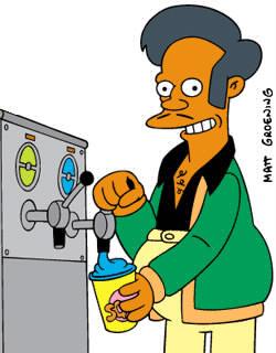 L'épicier, Apu, travaille au...