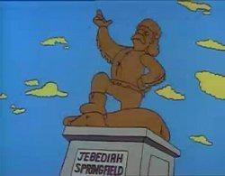 Quelle mauvaise idée a eu un jour Bart de faire à la statue de Jebediah Springfield ?