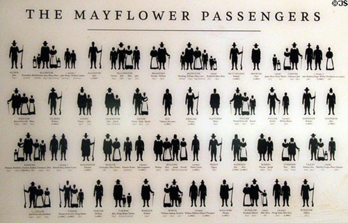 How many Pilgrims were on board the Mayflower?