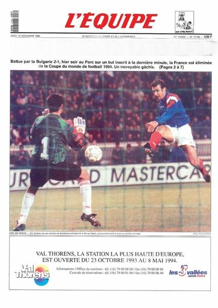 Le lendemain du match, quel titre mémorable trouve-t-on en une du magazine L' Equipe ?