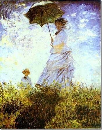 Repare como a sombra é formada por cores no quadro  Mulher com sombrinha. Qual cor os artistas negavam e quem foi o pintor desse quadro ?