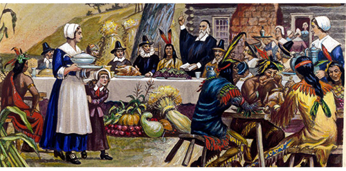 What's the Pilgrims had ate for Thanksgiving in the story ?