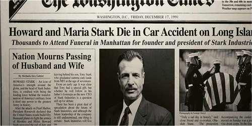 Quel jour, mois et année sont morts les parents de Tony Stark ?