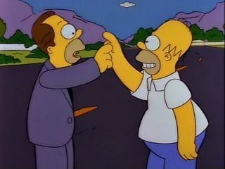 """Dans l'épisode """"Fluctuat Homergiture"""", Homer découvre qu'il a un demi-frère qui a fait fortune dans :"""