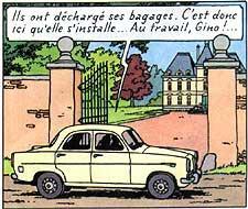 Dans quelle aventure de Tintin, peut-on voir cette voiture qui s'arrête devant le château de Moulinsart ?