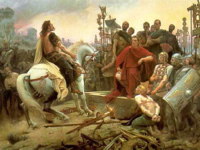En quelle année, Vercingétorix se rend-il à Jules César ?