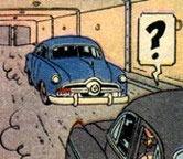 Dans quel album peut-on apercevoir dans l'une des pages ce véhicule bleu ?