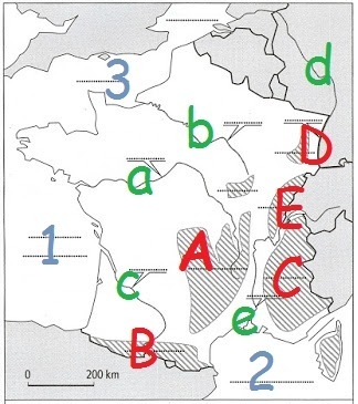 A quel massif montagneux correspond la lettre B ?