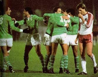 26 novembre 1980, 8e de finale de la Coupe UEFA, sur quel score les stéphanois s'imposent-ils sur la pelouse d'Hambourg ?