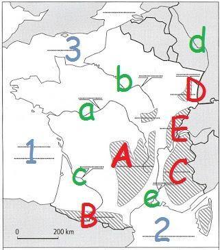 A quel massif montagneux correspond la lettre E ?