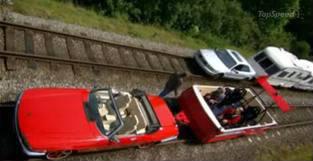 """Dans l'épisode où ils transforment des voitures en trains, quelle voiture Jeremy utilise-t-il pour son """"Train de sport"""" ?"""