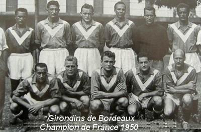 Quelle est la particularité du premier titre de champion de France des Bordelais en 1950 ?