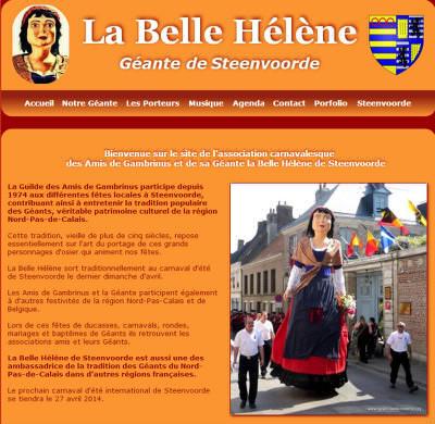 Depuis quelle année la Belle Hélène a-t-elle sa page web www.geant-belle-helene.org ?