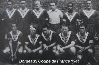 """En 1941, les """"Girondins ASP Bordeaux"""" remportent leur première Coupe de France en battant ....."""